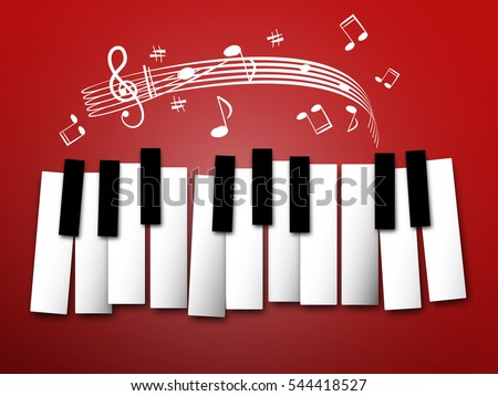 piano keys music notes and