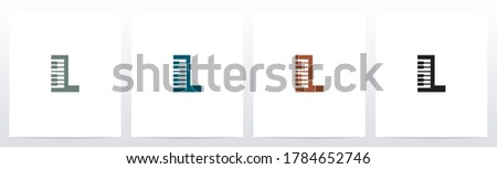 Piano Keys On Letter Logo Design L Stock fotó ©