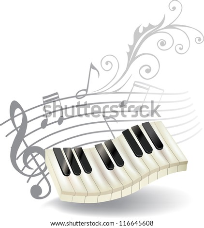 Piano keys, treble clef and musical notes background