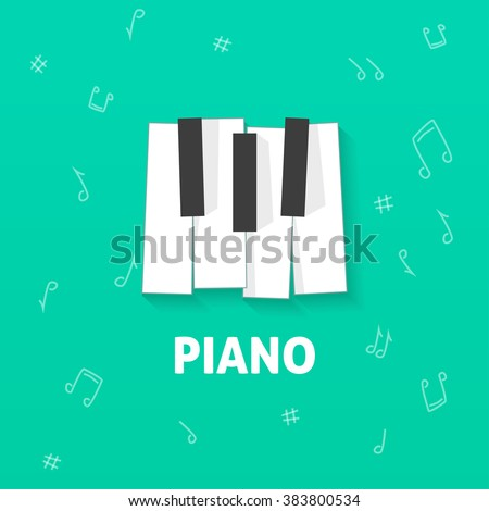 piano keys vector flat logo