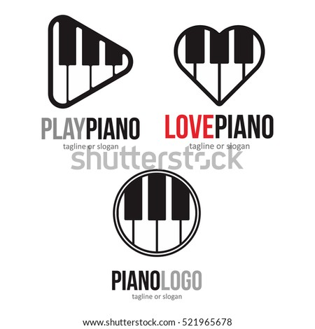 PIANO MUSIC LOGO ICON SYMBOL EMBLEM TEMPLATE