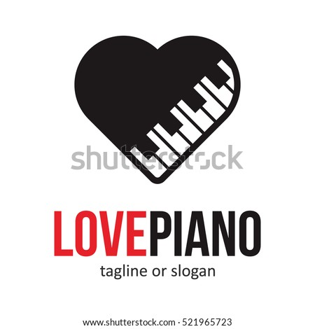 piano music love heart logo