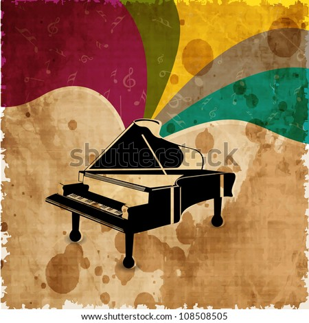 Piano on colorful grungy background. EPS 10.