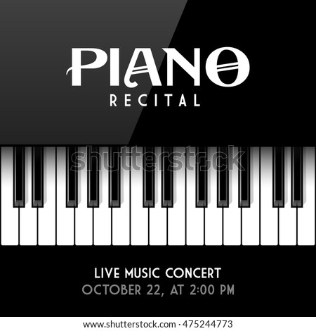 Shutterstock Piano recital poster, leaflet or invitation design template. Vector illustration.