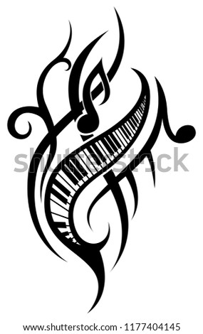 Piano tribal tattoo with notes on white background