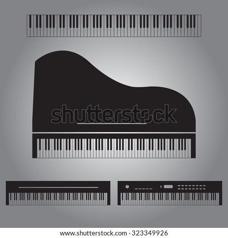 Piano Vector Icon Set Gray 323349926