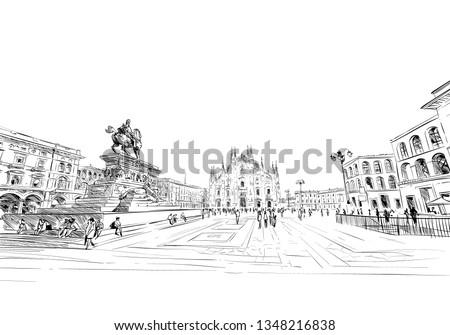 Piazza del Duomo. Milan Cathedral. Victor Emanuel II Gallery. Hand drawn sketch. Vector illustration.