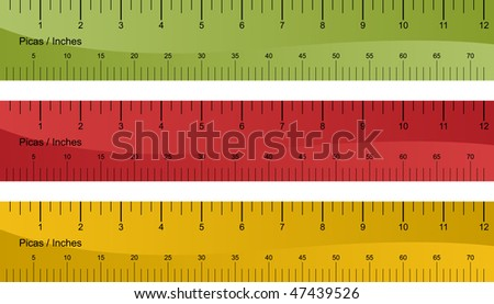 Pica ruler set isolated on a white background.