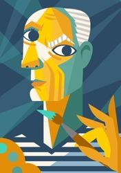picasso cubist portrait painting cartoon
