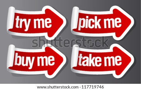 Pick me, buy me stickers in form of arrows.