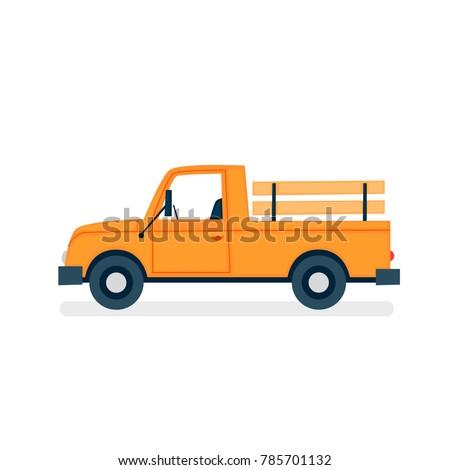 Pick-up farming. Vector flat illustration on white background