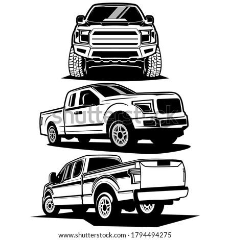 pick up truck logo design vector Stock photo ©