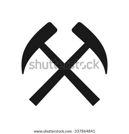 pickaxe logo. minning equiptment logo. pickaxe fireman vector. eps 8.