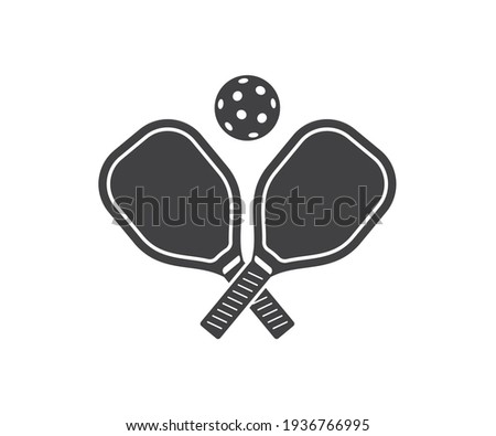 Pickle ball Sport Ball and Pickle Ball Bat Symbol Icon, Paddels and balls on transparent background Foto d'archivio ©