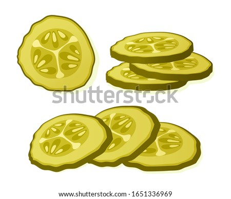 Pickled cucumber slice isolated on white background. Marinated pickled cucumber isolated. Vector Illustration. Сток-фото ©