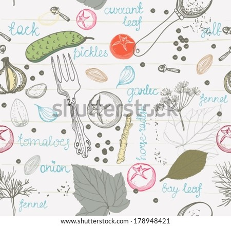 Pickled cucumbers, ingredients for pickling cucumbers, Seamless pattern, VECTOR