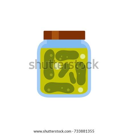 pickled cucumbers jar vector