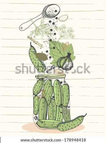 Pickled cucumbers vegetables in jar, ingredients for pickling cucumbers, VECTOR