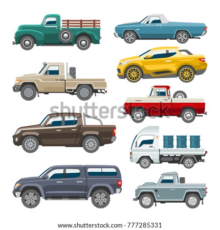 Pickup car vector auto delivery transport pick up offroad automobile vehicle or truck and mockup isolated citycar on white background illustration
