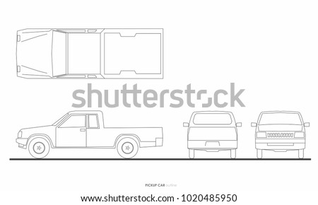 pickup truck car drawing graphic outline ストックフォト ©