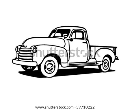 pickup truck   retro clip art