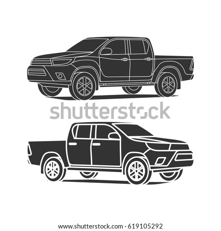 Pickup truck silhouette set outline and black icon vector