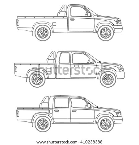 pickup truck types set vector
