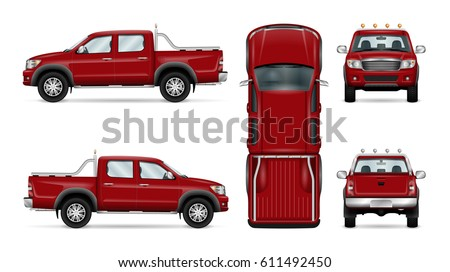 Pickup truck vector mock-up. Isolated template of red car on white. Vehicle branding mockup. Side, front, back, top view. All elements in the groups on separate layers. Easy to edit and recolor.
