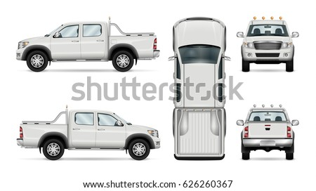 Pickup truck vector template for car branding and advertising. Isolated car set on white background. All layers and groups well organized for easy editing and recolor. View from side, front, back, top
