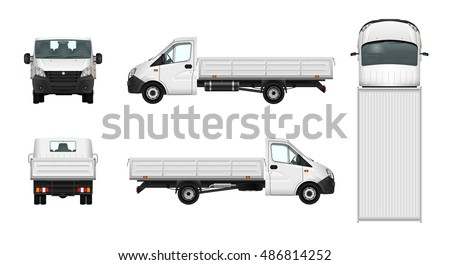 Pickup truck vector template on white background. Delivery car illustration. All sides in groups on separate layers. View from side, back, front and top.