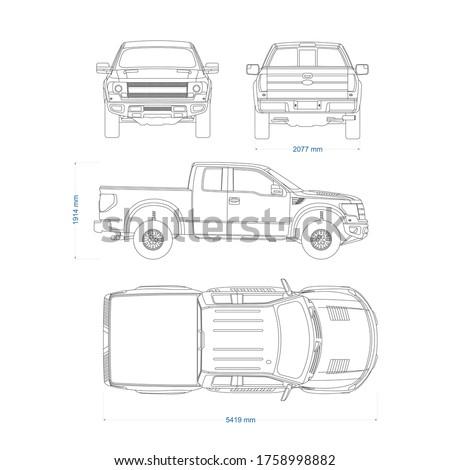 pickup truck vector template