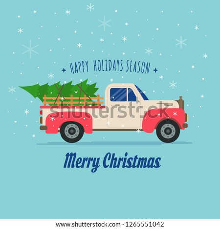 Pickup Truck With Christmas Tree #1265551042