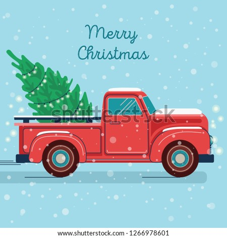 Pickup Truck With Christmas Tree #1266978601