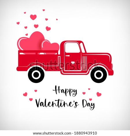 Pickup truck with Hearts. Red retro farm truck, valentine hearts isolated on white background. Lettering Happy Valentine's Day. Vector doodle illustration.