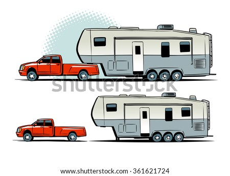 Stock Vector Pickup Truck With Rv Trailer Side