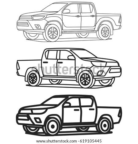 Pickup truck 4x4 outline on white background vector illustration