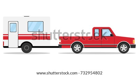 Pickup with trailer, pick-up with trailer, car. Flat design, vector illustration, vector.