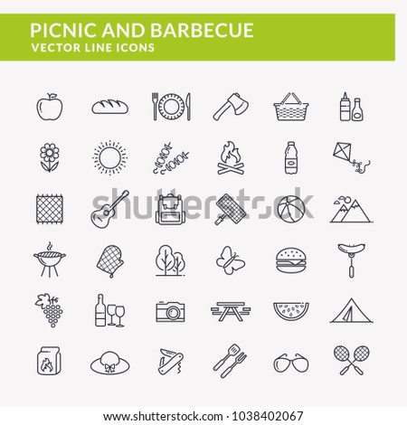 picnic and barbecue web icons