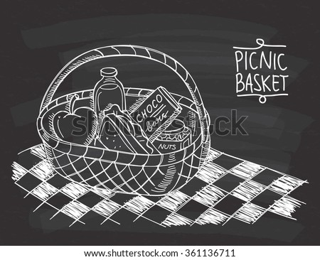 picnic basket in doodle style...