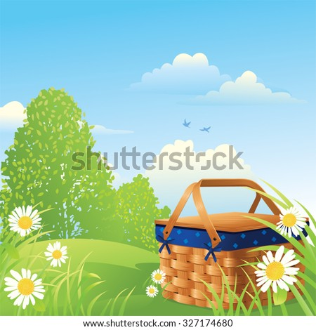 Picnic Basket in the Park on a Summer Day