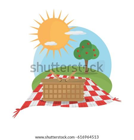 picnic basket tablecloth landscape