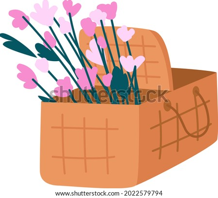 picnic basket with flowers semi