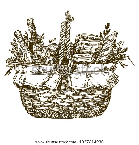 Picnic basket with food. Engraving style. Vector illustration.