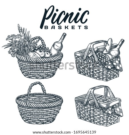 Picnic baskets set, isolated on white background. Vector hand drawn sketch illustration. Summer outdoor lunch, dinner design elements and calligraphy lettering. Pottle with wine, bread and snack food Stockfoto ©