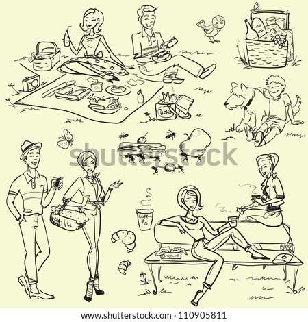 Picnic doodles set, weekend getaway, hand drawn people having a picnic, 60's, 50's