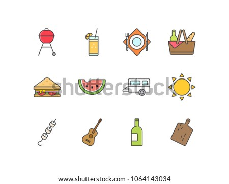 picnic flat line colored icons