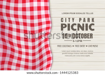Picnic horizontal background. Vector poster or banner design template with realistic red gingham tablecloth on white wooden table. Restaurant, cafe menu design elements. Stock photo ©