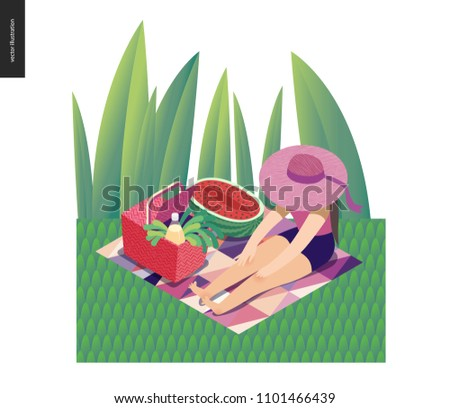 picnic image   flat cartoon