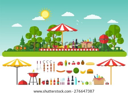 Picnic on nature. Set of elements for outdoor recreation
