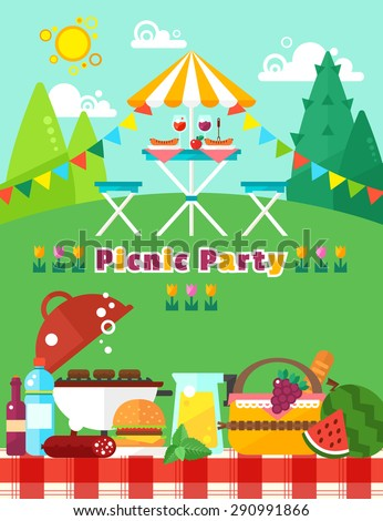 Picnic party landscape in flat trendy style. Vector picnic elements collection: food, fruits, barbecue, hamburger and others. Independence day of America.  Picnic invitation template for your design.
